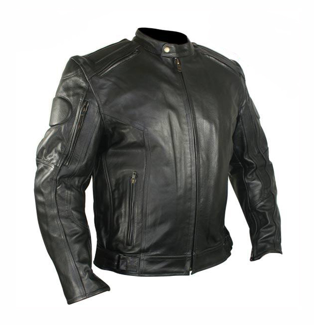 Men's Armored Black Racer Motorcycle Jacket