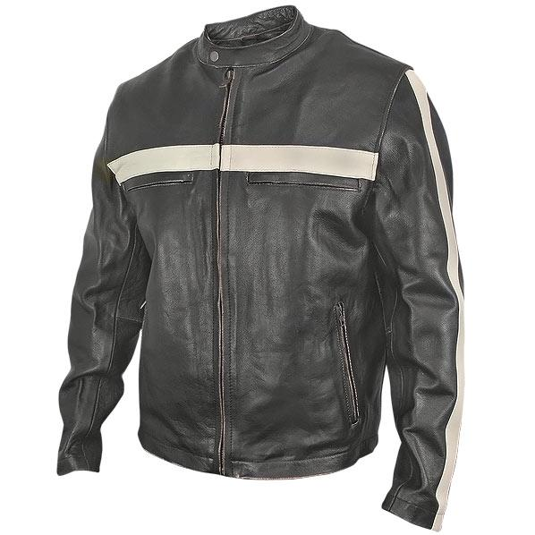 Men's Dark-Brown Vintage Motorcycle Jacket with Beige Stripes