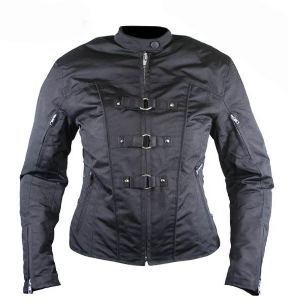 Women's Removable Armor Black Fabric Motorcycle Jacket
